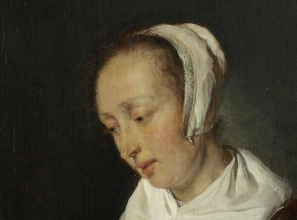 Габриэль Метсю, Женщина за едой, фрагмент «Головка»