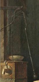 Габриэль Метсю, Женщина за едой, фрагмент «Водяной насос»