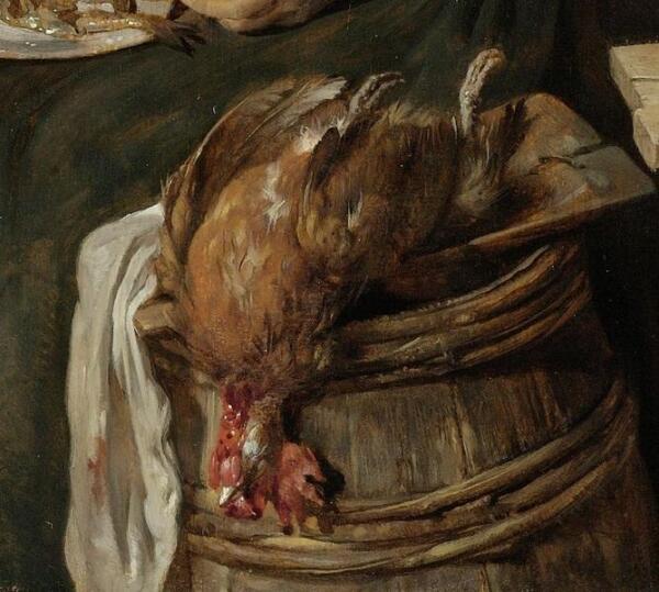 Габриэль Метсю, Женщина за едой, фрагмент «Зарезанный петух»