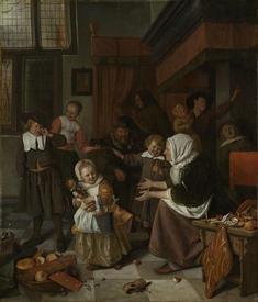 Ян Стен, Праздник св. Николаса, 82х70 см, 1665, государственный музей, Амстердам, Нидерланды