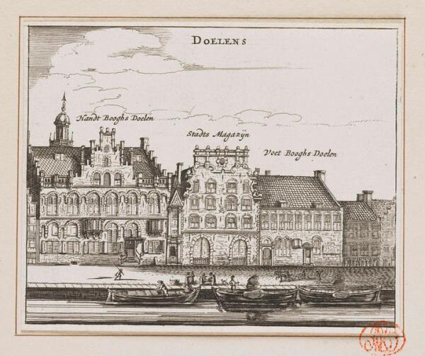 Здания гражданской гвардии и арсенал, 1606 год, гравюра 113х140 мм, государственные музей, Амстердам