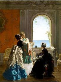Эдуард Рихтер, Визит к роженице, 1874, 106х80 см, частное собрание
