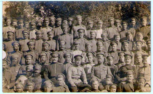Фотоснимок Стрелкового полка ОСШ раненому товарищу с фронта. 1915 г.