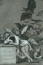 Ф. Гойя «Сон разума рождает чудовищ», 1797.