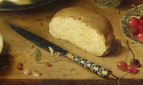 Осиас Беерт, Натюрморт, фрагмент «Нож и булочка»