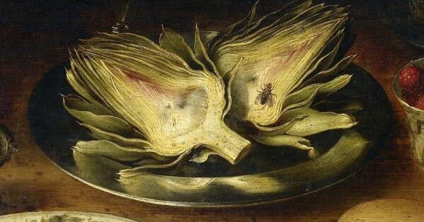 Осиас Беерт, Натюрморт, фрагмент «Артишок и муха»