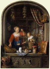 Герард Доу, Мелочная лавка. Женщина продает виноград, 48х35 см, 1672, Royal Trust Collection,  Лондон, Англия