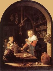 Герард Доу, Мелочная лавка, 38х29 см, 1647, Лувр, Париж, Франция