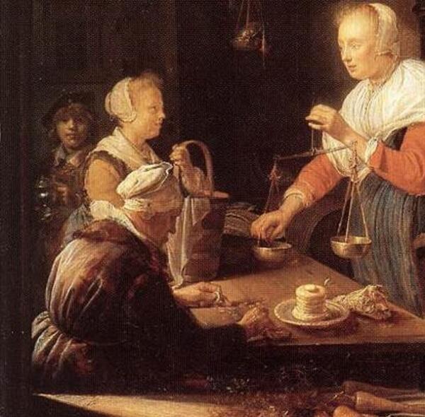 Герард Доу, Мелочная лавка, фрагмент «Старуха, покупательница и служка»