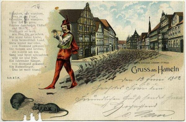 Гаммельнский крысолов на открытке 1902 г.
