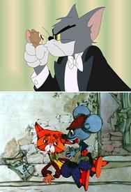 Сюжет о сообразительных мышках, издевающихся над кошкой, известен с давних времён. В современной культуре достаточно вспомнить мышат из м-ф про Тома и Джерри, или кота Леопольда.