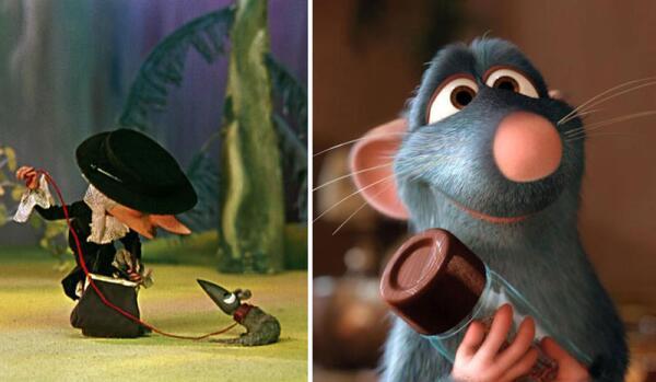 Ручная крыска Лариска старухи Шапокляк и милый крысёнок-кулинар Рататуй.