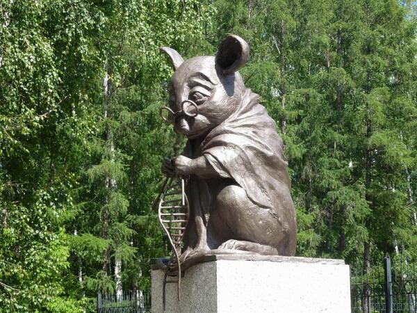 Памятник лабораторной мыши в Новосибирске.