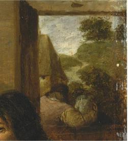 Адриан Браувер, Курильщики, фрагмент «Фигура в двери»