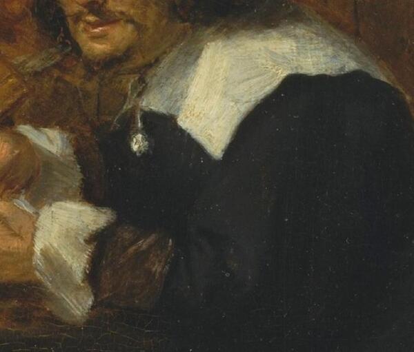 Адриан Браувер, Курильщики, фрагмент «Воротник, манжеты, брошь»