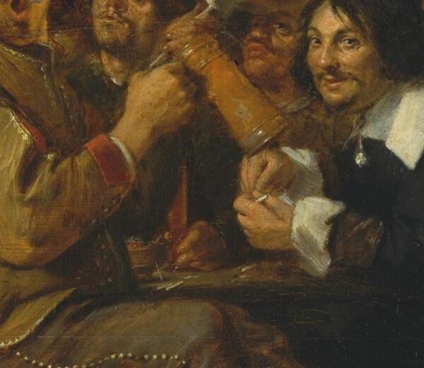 Адриан Браувер, Курильщики, фрагмент «Жаровня и рюмка с вином»