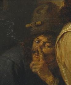 Адриан Браувер, Курильщики, фрагмент «Шляпа, усы, прическа, дым из ноздри»