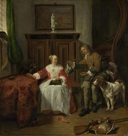 Габриэль Метсю, Дар охотника, 1658, 51х48 см, Rijksmuseum, Амстердам, Нидерланды