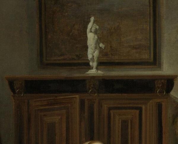 Габриэль Метсю, Дар охотника, фрагмент «Шкаф, Купидон, картина»