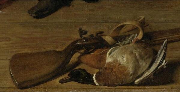 Габриэль Метсю, Дар охотника, фрагмент «Кремневое ружье с голландским замком и утка»