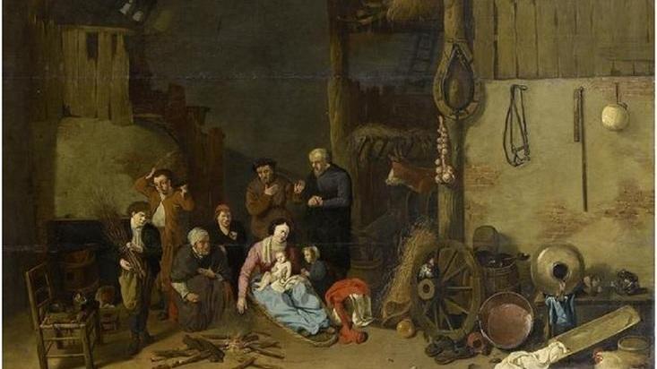 Хендрик Потьюл, Семья у огня в амбаре, частная коллекция