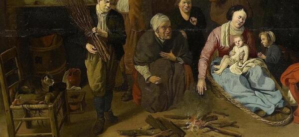 Хендрик Потьюл, Семья у огня в амбаре, фрагмент «Ребенок на руках матери»