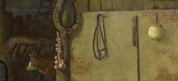 Хендрик Потьюл, Семья у огня в амбаре, фрагмент «Корова, хомут, связка лука, уздечка»