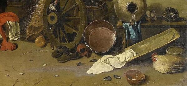 Хендрик Потьюл, Семья у огня в амбаре, фрагмент «Корыто для резки капусты»