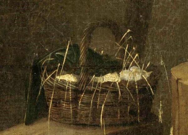 Хендрик Потьюл, Натюрморт в амбаре, фрагмент «Корзина с яйцами»