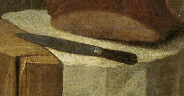 Хендрик Потьюл, Натюрморт в амбаре, фрагмент «Салфетка и нож»