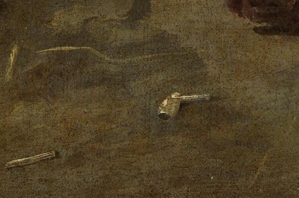Хендрик Потьюл, Натюрморт в амбаре, фрагмент «Обломок трубки»