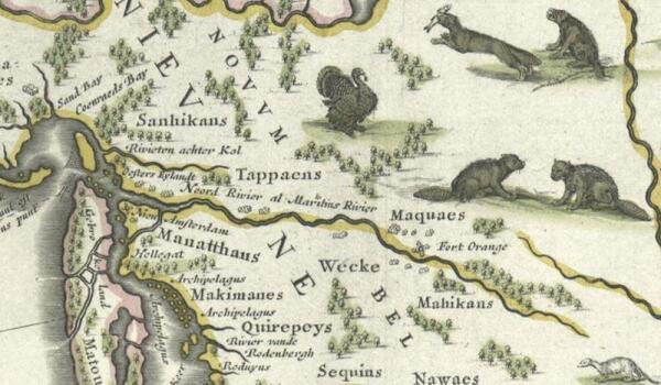 Бобры на карте реки Гудзон, 1635 г.