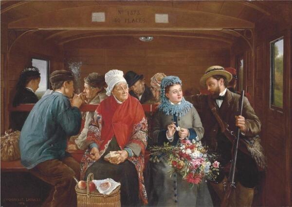 Кабалье Лассаль Камил Леопольд, В железнодорожном вагоне, 1878, 82.5 x 116.8 см, частная коллекция