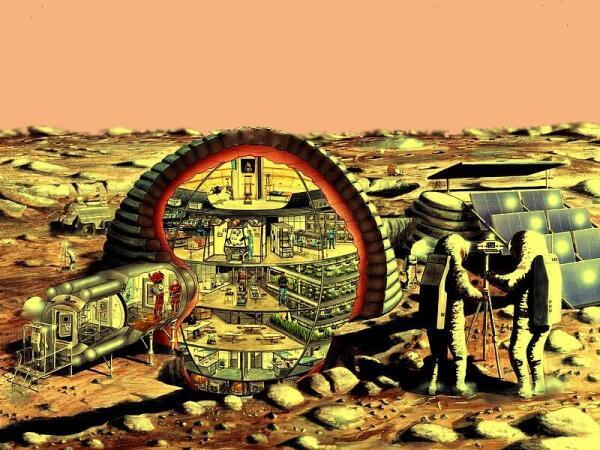 Схема купольного марсианского поселения