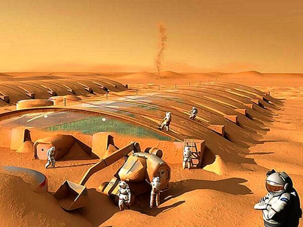 Насыпка грунта на марсианские модули