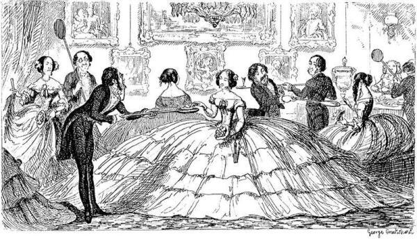 Карикатура на неприступные кринолины, XIX век.