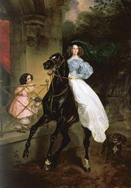 Дамское седло на картине Карла Брюллова «Всадница» (1832).