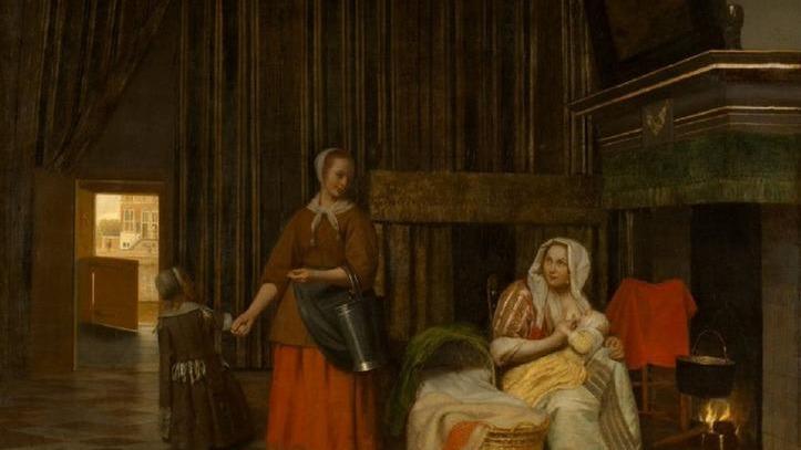 Питер де Хох, Женщина, ребенок и служанка, 76х64 см, 1663, музей истории искусства, Вена, Австрия