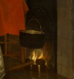 Питер де Хох, Женщина, ребенок и служанка, фрагмент «Камин»