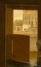 Питер де Хох, Женщина, ребенок и служанка, фрагмент «Канал»