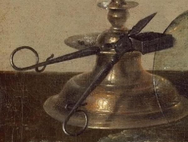 Виллем Клас Хеда, Банкет с мясным пирогом, фрагмент «Ножницы для фитиля»