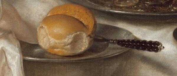 Виллем Клас Хеда, Банкет с мясным пирогом, фрагмент «Булочка и нож»