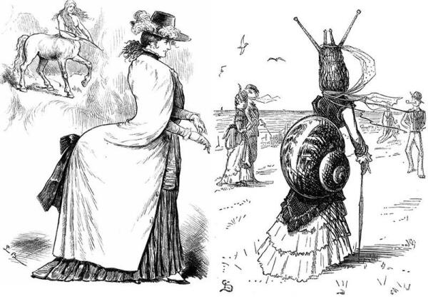 Карикатуры на турнюры (XIX век).