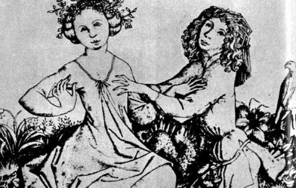 Мастер Е. С., Влюбленные на лавке. XV век.