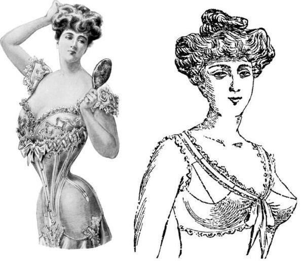 Дама в корсете (1905) и в лифчике (1906).
