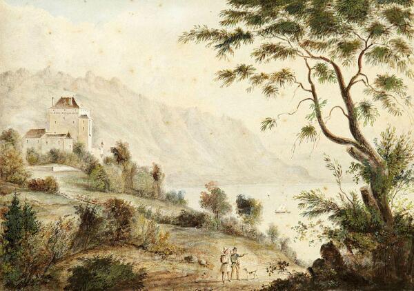 Замок в Монтрё работы швейцарского художника  Joseph Eugène Desvernois (1790-1872)