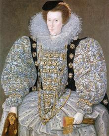 Неизвестная леди с рукавами-буфами и перчатками на портрете У. Сигара 1595 г.