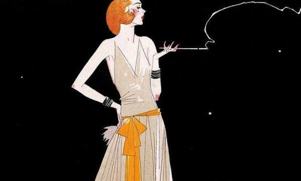 Новый женский облик 1920-х годов - короткая причёска, сигарета, маникюр.
