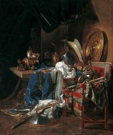 Виллем Кальф, Натюрморт с оружием, 200x170 см, 1643, Tesse Museum, Франция