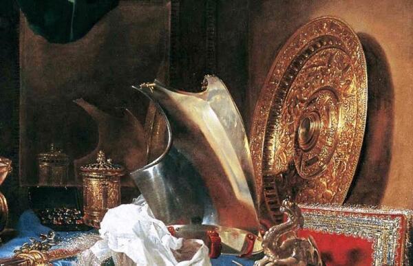 Виллем Кальф, Натюрморт с оружием, фрагмент «Латы и зеркало»